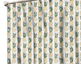 Fabric Style Shower Curtain, Fabric Shower Curtain, Pineapple Shower Curtain,  Extra Long Shower