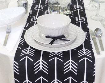 Choose your Table Runner, Black Table Runner - Black Wedding Linens - Black Table Topper - Arrow Black Table Runner