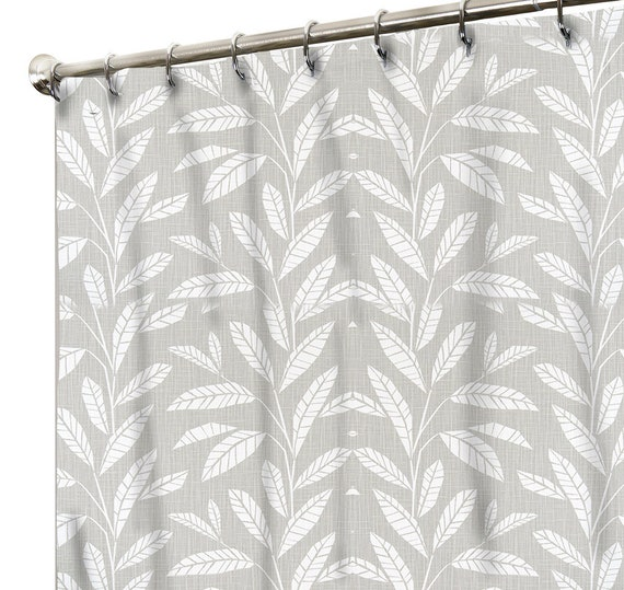 Shower Curtain In Grey For Bathroom Neutral Color Tropical