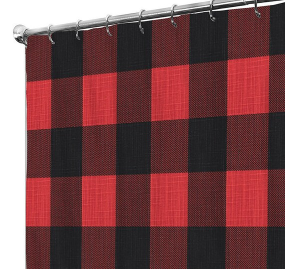 Shower Curtain Plaid Extra Long Fabric Shower Curtains Etsy