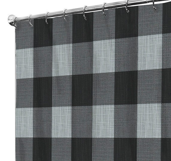 Shower Curtain Grey Extra Long Fabric Shower Curtains Rustic Etsy