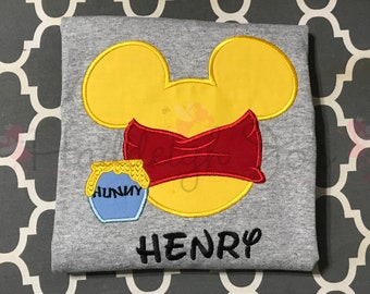 00d3d373b6f Pooh Mr Mouse Head Personalized Applique Adult and Plus Size Shirt