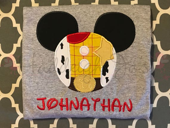 Woody mr mouse head personalized applique childrens kids etsy