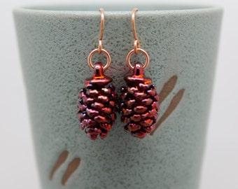 Iridescent Copper Cone Earrings