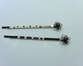 Silver Flower & Jet Black crystal Bobby Pins