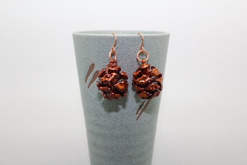 Iridescent Copper Redwood Cone Earrings image 0