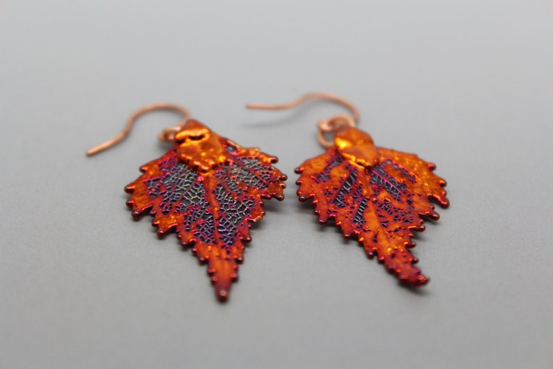 Iridescent Copper Birch Leaf Earrings image 0