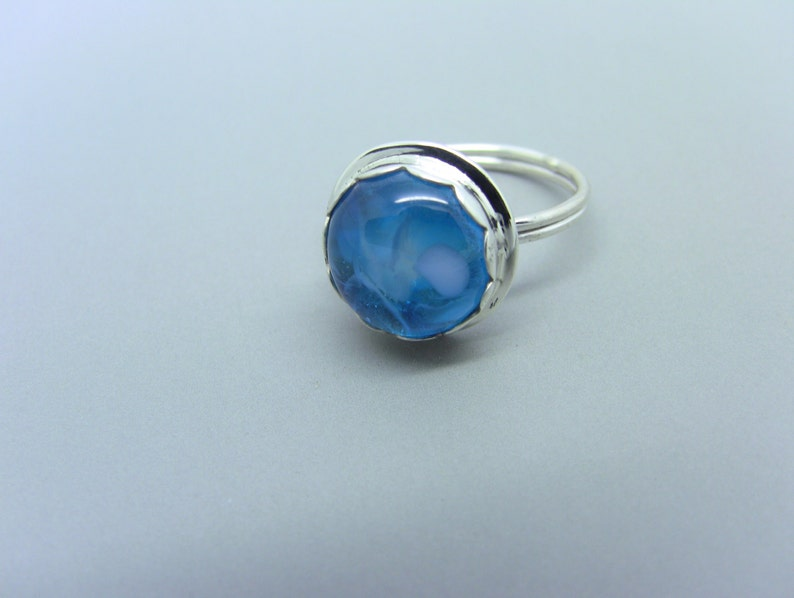 Sterling Silver Ring with Blue Marbled Fused Glass Cab image 0