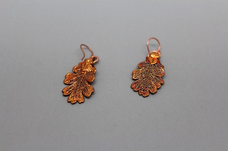 Iridescent Copper Lacey Oak Leaf Earrings image 0
