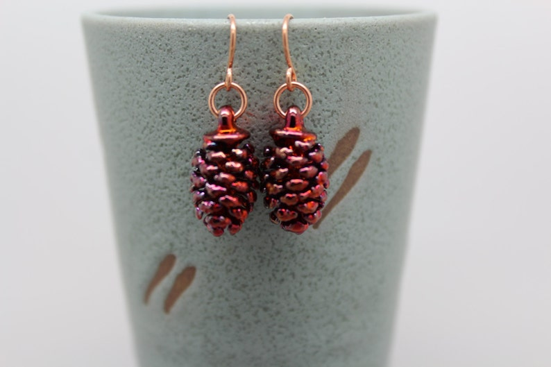 Iridescent Copper Cone Earrings image 0