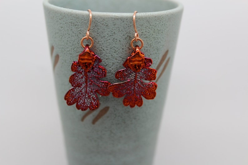 Iridescent Copper Lacey Oak Leaf Earrings image 0
