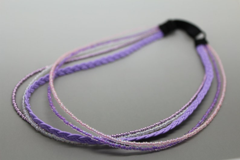 Shades of Lavender Adjustable Beaded Headband image 0