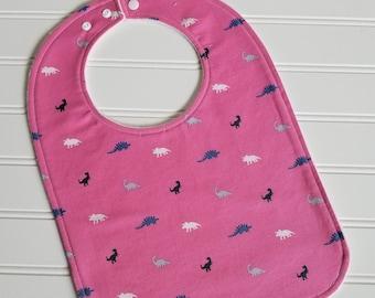 Toddler Bib/12-24 mo./Mini Dino in Fuschia/Organic Fleece Back