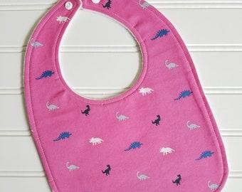 Baby Bib/Infant--18 mo./Mini Dino in Fuschia/Organic Fleece Back
