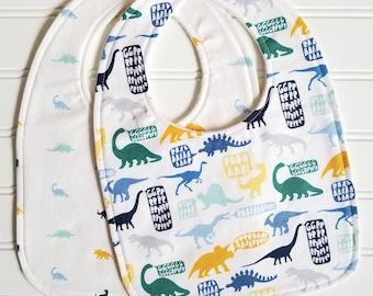 Baby Bib/Infant--18 mo./Set of Two Bibs/Stellasaurus/Organic Fleece Back