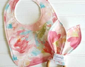 Infant Bib & Teether/SPOONFLOWER printed fabric/Organic Fleece Back