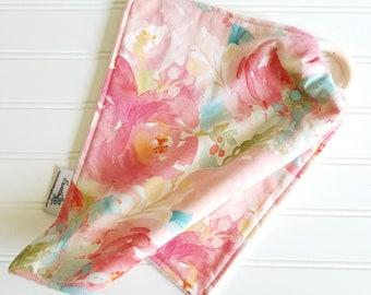 Teething Blanket,Lovey,Security Blanket,Teether/SPOONFLOWER fabric/Organic Cotton Sherpa