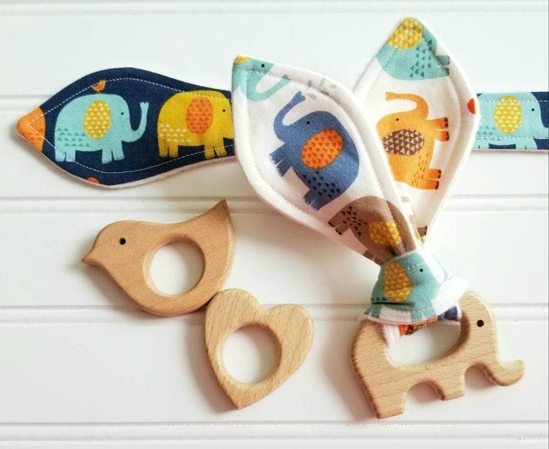 Natural Wood Teething Ring/Choice of Bird Elephant Heart/You image 0