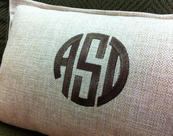 Items Similar To Circle Monogram Lumbar Decorative Throw