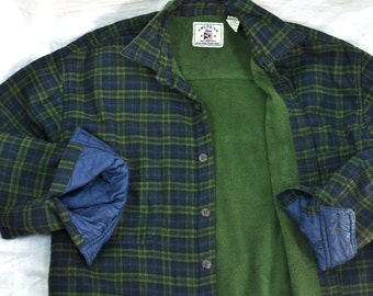 1980's Fleece Lined Mens Shirt Light Jacket Medium - Large Coat Blue Green Plaid Thick Shirt