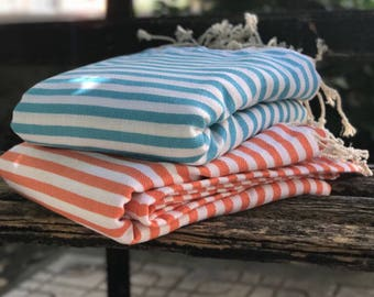 Bedspread, bed coverlet, blanket, throw, table cloth, picnic blanket, made of Turkish Towels, beach blanket, turquoise striped