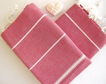 Set of 2 Turkish Hand Towel, Head Towel (Peshkir), Baby towel, Tea Towel, Red, Mom Gift, mother's day gift