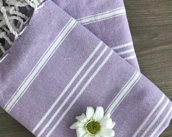 Set of  2 Turkish Baby Towel, Peshkir, Tea Towel, kitchen towel, soft , head towel, Fouta towel, purple,  valentine's day, mothers day gift