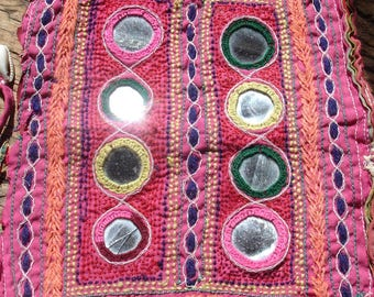 Banjara Indian mirror embroidery piece square with shells