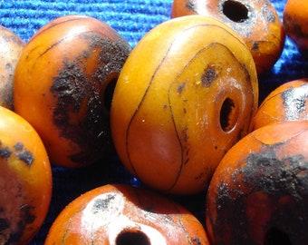 Medium Moroccan orange amber synthetic resin bead 20 x 16mm