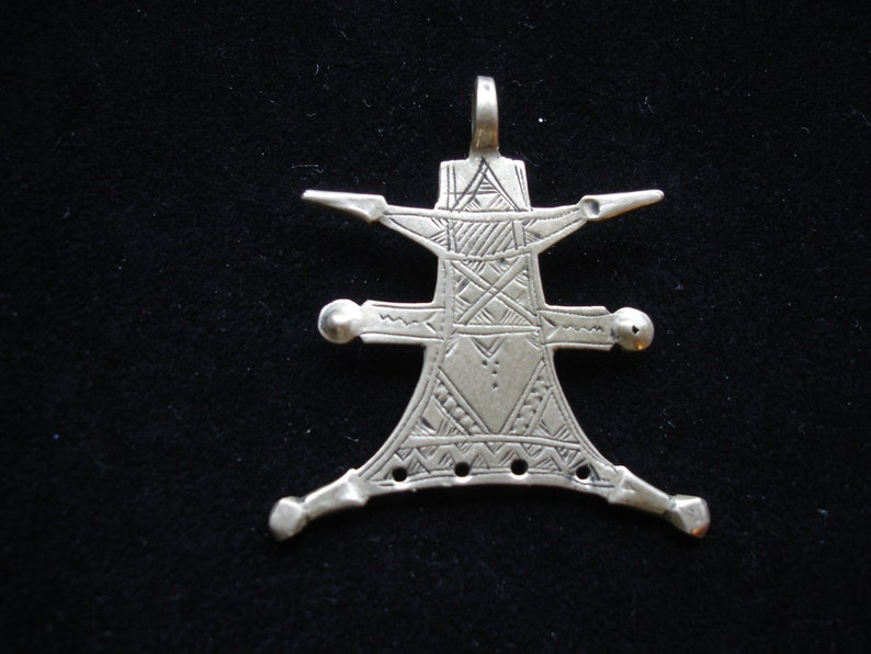 Niger Tuareg hand engraved long earring or pendant tested Silver