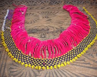Beaded yellow and pink long Kuchi piece