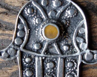 Moroccan  Hand tarnished pendant