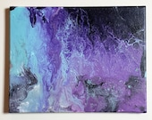 Abstract Acrylic Pour Purple and Teal Painting 11x14