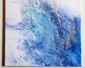 Abstract Acrylic Pour Ocean Painting 16x20