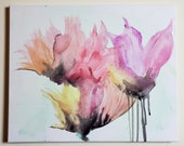 16x20 Acrylic & Water Abstract Flower Painting with Silver Highlight