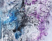 DIGITAL Print of Damask Alcohol Ink Painting