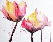 DIGITAL Acrylic & Water Flower Painting