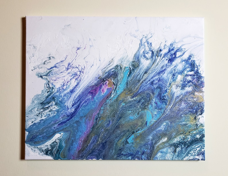 Abstract Acrylic Pour Painting with Copper Highlight  Great image 0