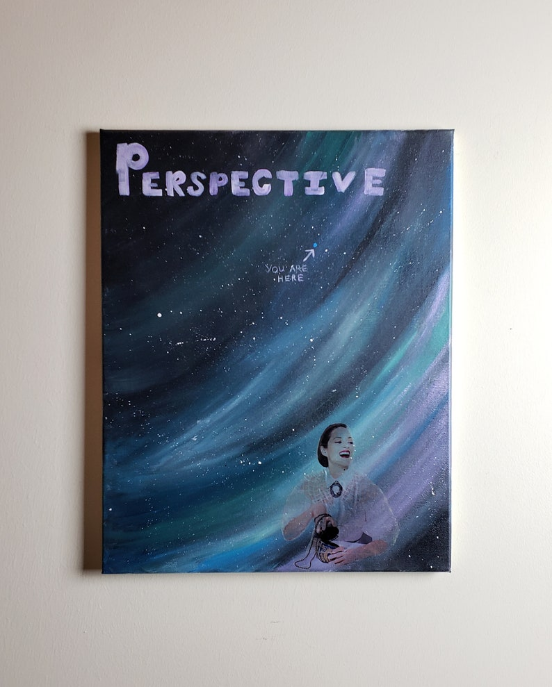 16x20 Acrylic Painting Perspective: Blue Dot image 0