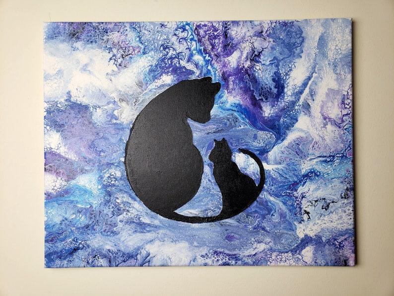 16x20 Acrylic Pour with Cat and Kitten Silhouette image 0