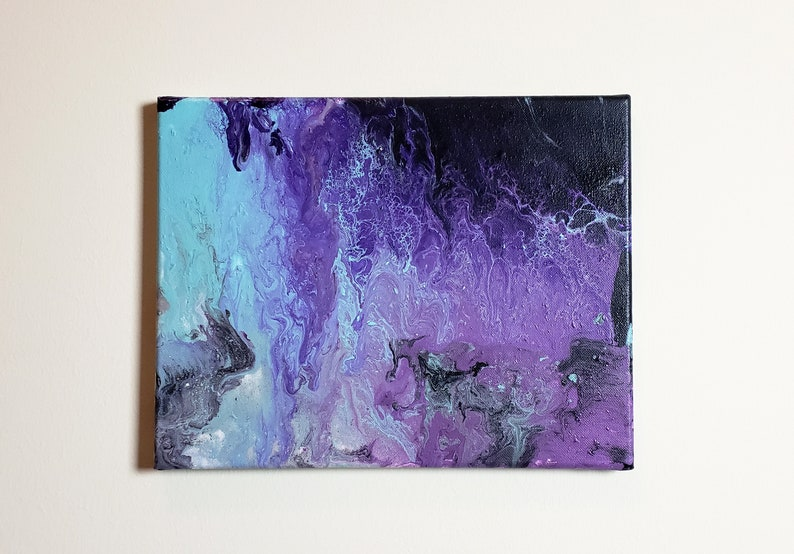Abstract Acrylic Pour Purple and Teal Painting 11x14 image 0