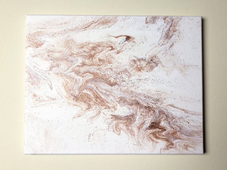 Abstract Acrylic Pour Copper and White with Copper Glitter image 0