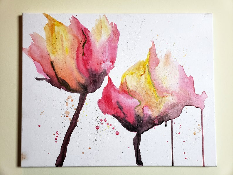 16x20 Acrylic & Water Abstract Flower Painting with Gold image 0