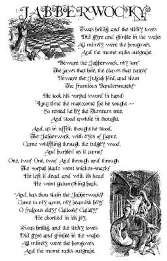Jabberwocky Lewis Carroll Poem Alice In Wonderland Offset Poster