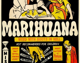 Marihuana Weed w/ Roots in Hell Vintage Reprint Poster