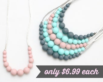 Simple Silicone Teething Necklace   Pick Your Color   Silicone Nursing Necklace   Breastfeeding Necklace   Teething Necklace   Chewelry