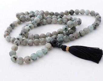 108 beads mala - 8mm sesame jasper 108 beads buddhist mala - Japa mala
