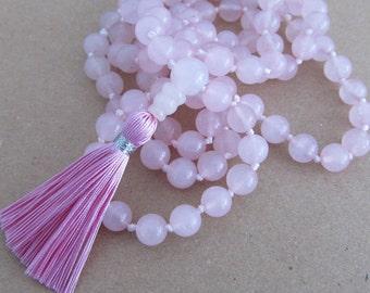 Rose quartz mala - Hand knotted 8mm rose quartz 108 beads buddhist mala