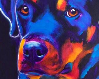 Rottweiler, Pet Portrait, DawgArt, Dog Art, Pet Portrait Artist, Colorful Pet Portrait, Rottweiler Art, Pet Portrait Painting, Art Prints