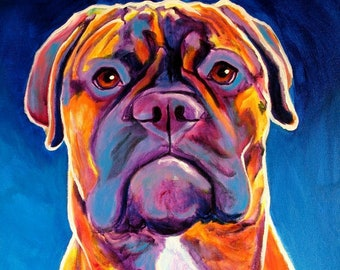 Bullmastiff, Pet Portrait, DawgArt, Dog Art, Bullmastiff Art, Pet Portrait Artist, Colorful Pet Portrait, Art, Art Prints, Mastiff Art